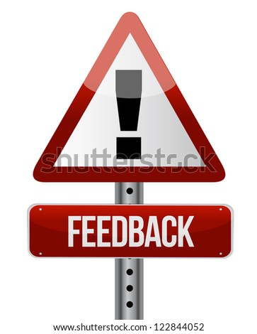 Feedback word on road sign illustration design over white - stock photo