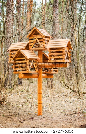 Feeders for birds and squirrels in the Woods. - stock photo