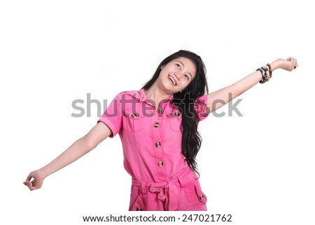 feel free asian girl expression - stock photo