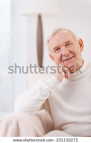 Feeling peaceful at home. Cheerful senior man holding hand on chin while sitting in chair - stock photo