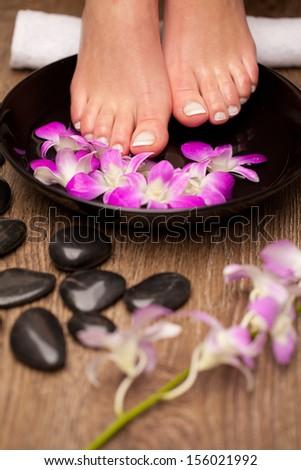 Feet aromatherapy - stock photo
