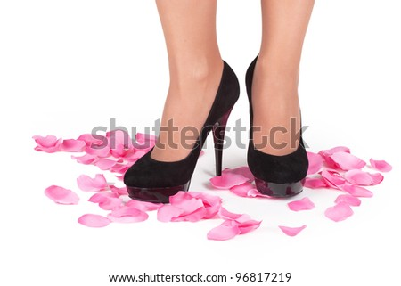 Feet  in shoes isolated among rose petal
