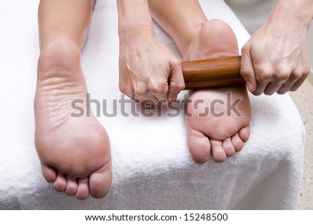feet massage to relax in a woman body - stock photo