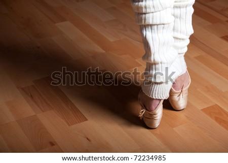 feet of a ballet dancer - stock photo