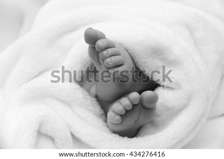 feet of a newborn baby - stock photo