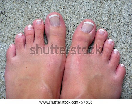 Feet on Concrete - stock photo
