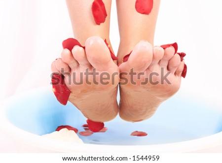 Feet treatment - stock photo