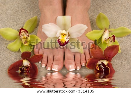 Feet with beautiful fresh orchids on sand with water reflection
