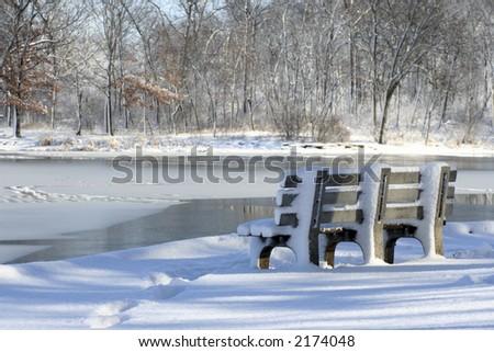 feezing lake - stock photo