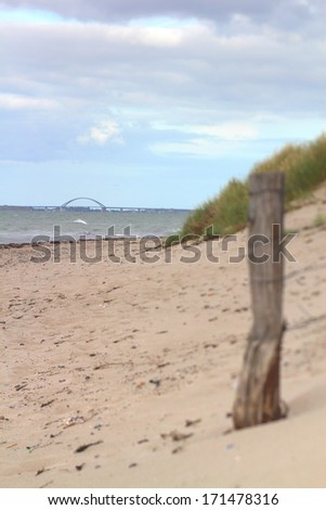Fehmarn Sound Bridge coastal dune - stock photo
