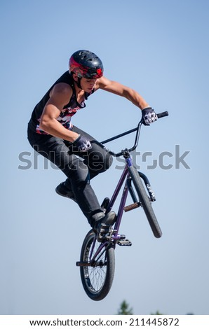 FELGUEIRAS, PORTUGAL - AUGUST 17, 2014: Louis Carvalho during the 1st Stage of the DVS BMX Series 2014 by Fuel TV.