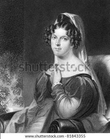Felicia Hemans (1793-1835). Engraved by W.Holl and published in The National Portrait Gallery encyclopedia, United Kingdom, 1820. - stock photo