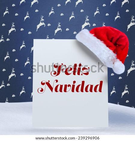 Feliz navidad against blue reindeer pattern - stock photo
