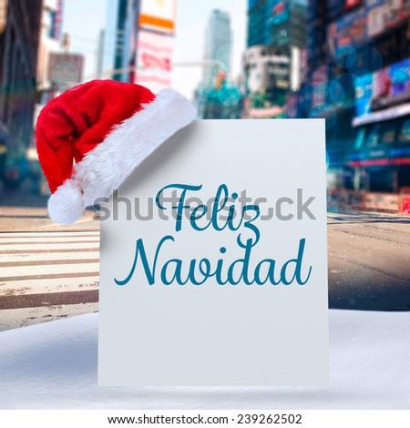 Feliz navidad against blurry new york street - stock photo