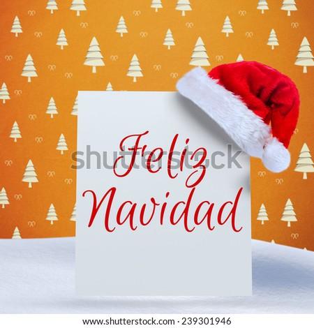 Feliz navidad against orange tree pattern - stock photo