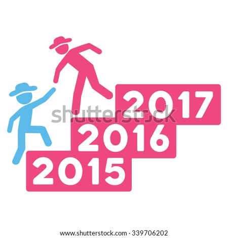 Fellow Annual Help glyph icon. Style is bicolor flat symbol, pink and blue colors, rounded angles, white background.