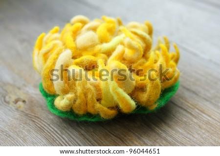 Felt of natural wool brooch. Yellow chrysanthemum - stock photo