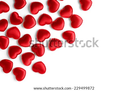 Felt red hearts isolated on a white background. studio shot - stock photo