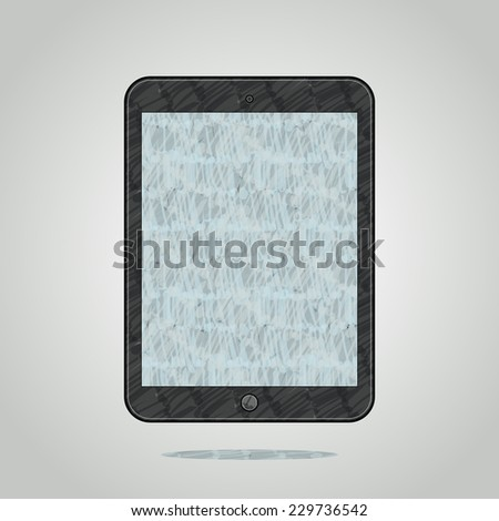 Felt tip marker pen drawn modern tablet computer on grey shining background - stock photo