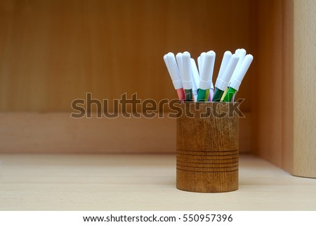 felt-tip pen in nice holder on the table
