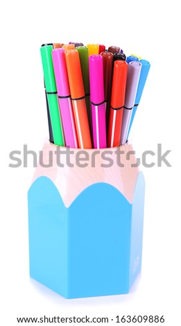 Felt-tip pen in stand isolated on white