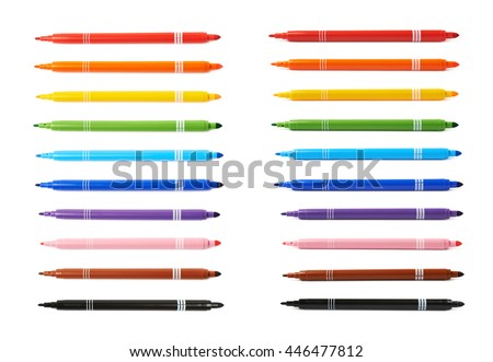 Felt-tip pen marker isolated over the white background, set of ten different colors each in two foreshortenings - stock photo