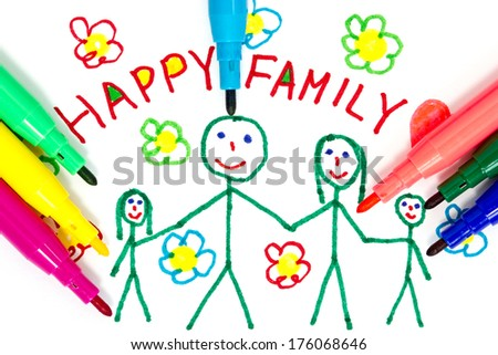 Felt tip pens and color drawing of happy family - stock photo