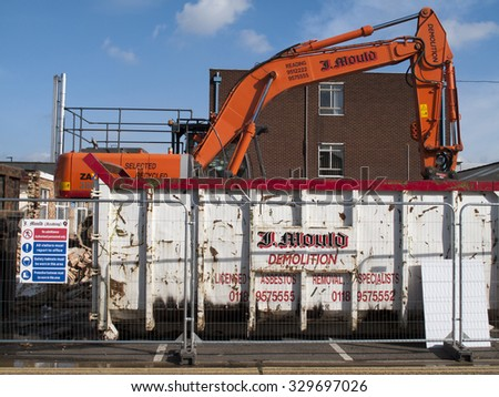 Feltham, London, Middlesex, England - October 20, 2015: J mould Demolition Company based in Reading Berkshire, demolition of building on Falcon Estate