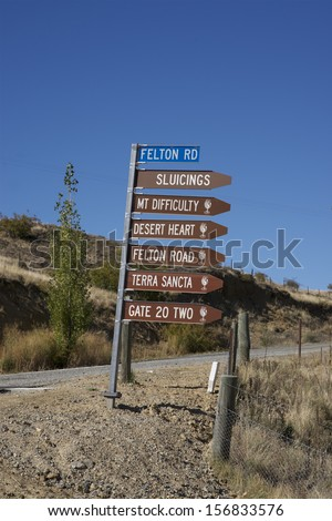 Felton Road, signpost to a most famous Road in the Bannockburn, Central Otago wine growing area of the South Island of New Zealand. Taken 26 / 03 / 13 - stock photo