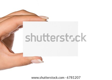 femal hand holding blank business card - stock photo