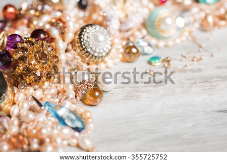 Female accessories on the table  - stock photo