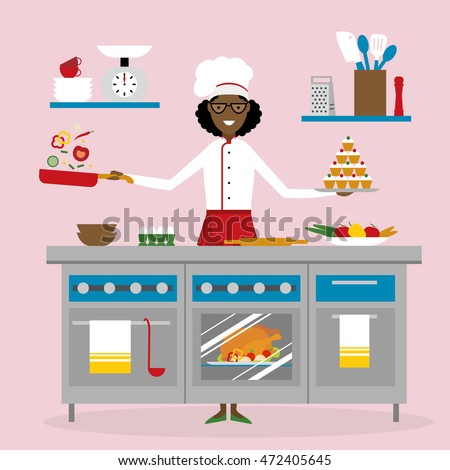 Stock Photo Female African American Chef Cooking On Pink Background Restaurant Worker Preparing Food