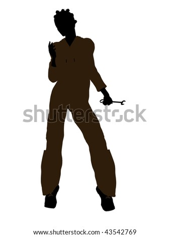 Female african american mechanic illustration silhouette on a white background