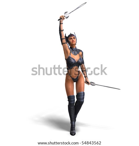 female amazon warrior with sword and armor. 3D rendering with clipping path and shadow over white - stock photo