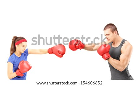 Female and male boxers with boxing gloves during a match, isolated on ...