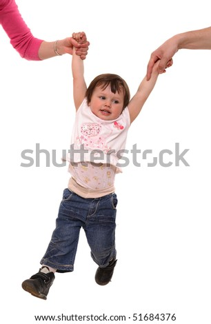 Female and man's hand hold for hands of the kid - stock photo
