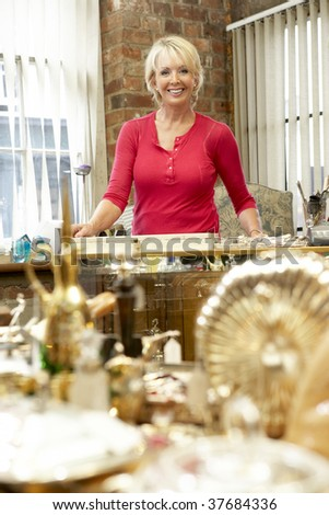 Female antique shop proprietor - stock photo