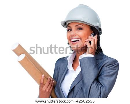 Female architect on phone bringing blueprints against a white background - stock photo