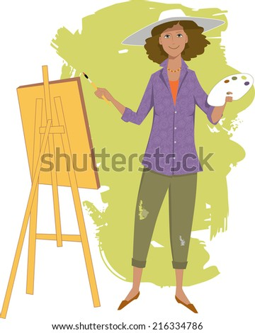Female artist painting with an easel - stock photo