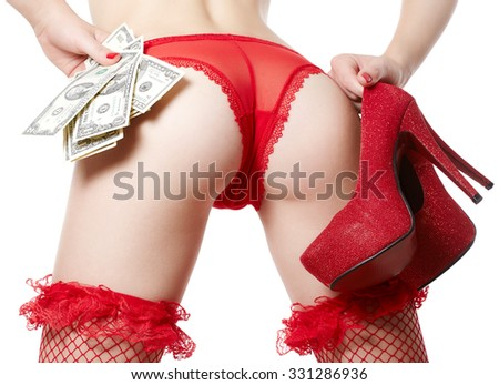 Female ass in red sexy panties isolated on white background - stock photo