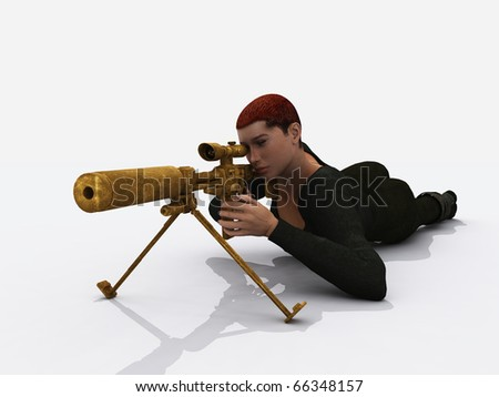 Female assassin - stock photo