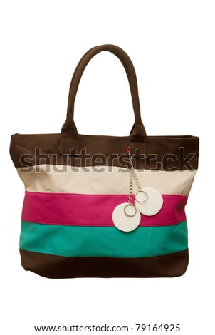 female bag with cover on a white background - stock photo