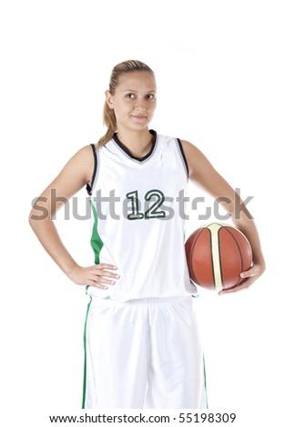 Female basketball player holding ball, isolated on white background - stock photo