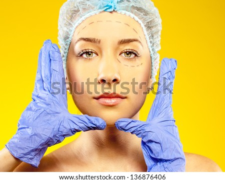 female before surgery on the face - stock photo