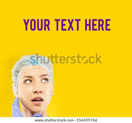 female before surgery on the face. your text here - stock photo
