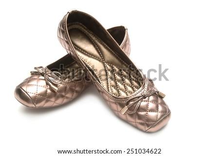 Female beige shoes - stock photo