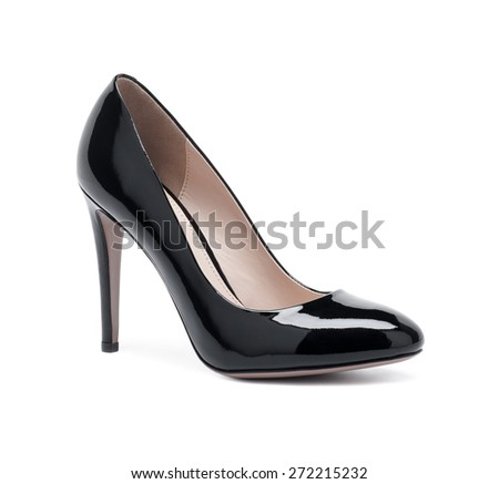 Female black fashion shoes on white background