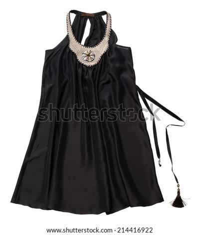 Female black top on white background - stock photo