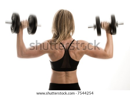 female bodybuilder's muscular back lifting weights - stock photo