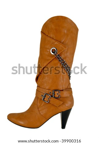 Female boot of leather isolated on white